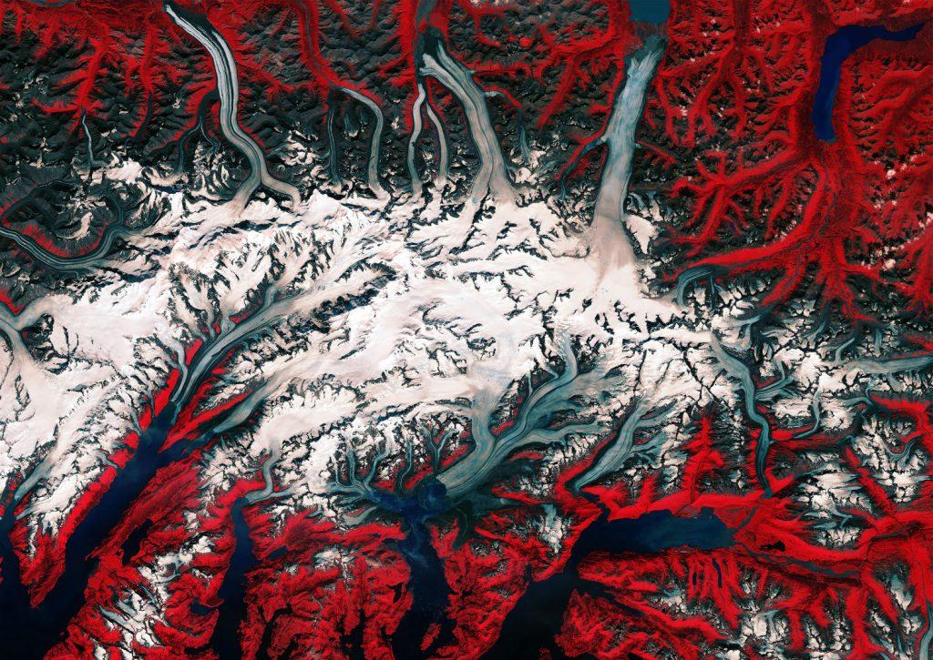 Copernicus Sentinel 2 photo of a glacier in Colombia