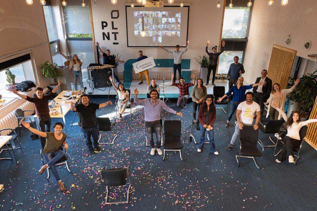 Celebration at Copernicus Hackathon Leiden